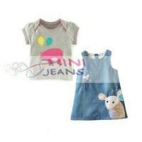 setelan baju overall anak perempuan mini jeans MJ mouse piggy baloon