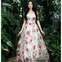 Gauze Organza Flower Rose Floral Maxi Dress IMPORT