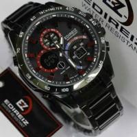 Jam Tangan Pria Edireiz 8106 Original Full Black Dual time