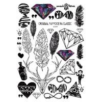 LC871 Temporary Art Tattoo Sticker Diamond Deer Feather Heart