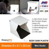 Mini Studio Photo Box Portable + Lampu LED