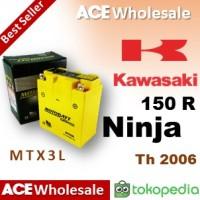 Aki - Ninja 150 Kawasaki - MOTOBATT MTX3L kering gel motor u/ GS Yuasa