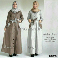 Exclusive Aletha Dress / gamis / baju muslim / hijab gaya baru / Gros