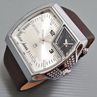 Jam Tangan Diesel Kulit Double Time Kotak Leather Brown Ring Silver