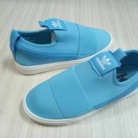 sepatu casual adidas hamburg slip on cewek biru tosca import vietnam