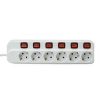 Stop Kontak 6 Socket Dengan Ekstensi Putih - KRISBOW