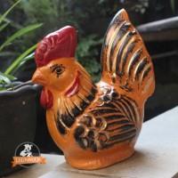 Celengan Ayam Orange Gerabah Unik / Tanah Liat Bakar