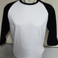 Kaos Raglan Polos Super Cotton 20s Ukuran XXXL (3XL) JUMBO SIZE - Putih-Hitam, 3XL