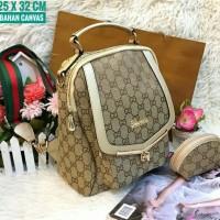 Tas Ransel Kanvas Gucci Wanita Promo Murah Terbaru Limited Warna Krem