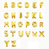 HARGA/PC BALON FOIL huruf angka nama EMAS GOLD ukuran 40cm