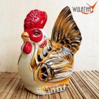 Celengan AYAM GOLD 30cm Tanah Liat Bakar / Keramik