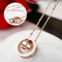 Kalung Cartier stainless double ring fashioned premium