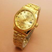 Rolex Diamond Oyster Rantai Full Gold Jam Tangan Unisex Pria/Wanita
