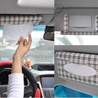 Tempat Tisu Tissue Holder Mobil MOTIF Jepit Sun visor BONUS ISI