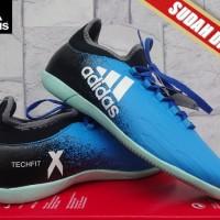 Sepatu Futsal Adidas X 16.2 Techfit Boots Hitam Biru KW Super