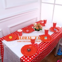 taplak meja pesta polkadot merah / table cover party / taplak pesta