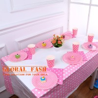 taplak meja pesta polkadot pink soft / table cover party taplak pesta