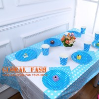 taplak meja pesta polkadot biru / table cover party / taplak pesta