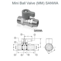 MINI BALL VALVE / STOP KRAN KERAN AIR KECIL SANWA (MALE-MALE) 1/2""