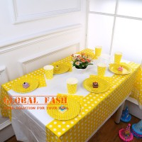 Taplak Meja Pesta Polkadot kuning/Table Cover Waterproof/ Table Cover