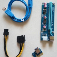 PCI-E Riser Express USB 3.0 1X to 16X SATA 15pin to 6pin VGA Mining