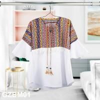 Baju Atasan Muslim Dengan Motif Etnik Berbahan Gazebo Premium