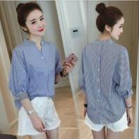 [Sanghai stripe RO] blouse wanita katun stirpe navy dan hitam