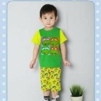 setelan kaos celana pendek hijau kura-kura ninja J2 Kid sz.3y small