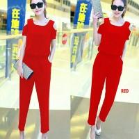 [JsEliza red RO] jumpsuit wanita twiscont merah