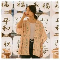 Kimono Outer Cardi Cardigan Lengan Pendek Motif Floral Pastel Pink