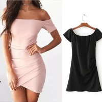 Mini Dress Sabrina Bodycon Black Ribbed (S) Import Original