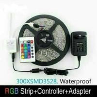 LED STRIP RGB SMD 3528 LENGKAP DENGAN ADAPTOR DAN REMOT