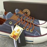 Sepatu Converse Tali Coklat Sneakers Casual Abu