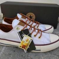 Sepatu Converse Tali Coklat Sneakers Casual Putih