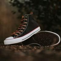 Sepatu Converse Tali Coklat High Sneakers Casual Hitam