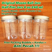 Original Mason Ball Jar Half Pint 240 ml Made in USA Toples Kaca