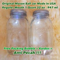 Original Mason Ball Jar 32 oz 947 ml Regular Mouth Toples Kaca