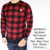 Sweater Pria Fashion Model Distro Keren Gaul Big Black Red Square -671