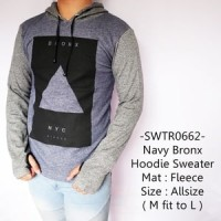 Sweater Fashion Cowok Model Distro Keren Gaul Navy Bronx Hoodie - 662