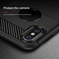 HARDCASE IPAKY RUGGED CARBON SOFT SILICON BACK COVER APPLE IPHONE X