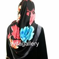 Jilbab Segi Empat Satin Motif Abstrak Limited Edition