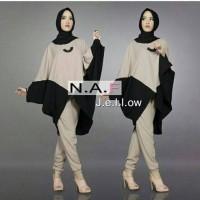 Setelan / Gamis Baju Wanita Muslim Jellow Batwing 3in1