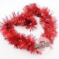 Slinger / tinsel / hiasan natal / parcel / slinger rumbai warna merah