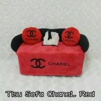 Tempat Tisu Mobil Model Sofa Motif CHANNEL Merah