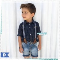 Setelan anak cowok keren 3in1 hitam kotak2 & jeans import (SUSPENDER)
