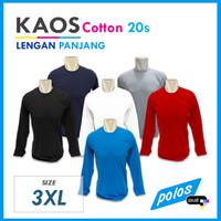 Kaos Polos Lengan Panjang Super Cotton 20s Unisex Ukuran [3XL]