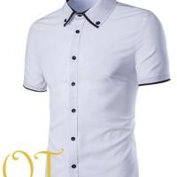 [fredd white XL OT] kemeja pria katun strech putih lengan pendek XL