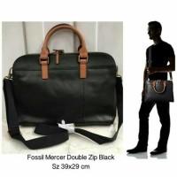 TAS Pria FOSSIL Man DOUBLE ZIP MERCER BLACK Authentic Original