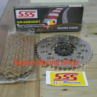 Paket Gear Set SSS Vixion Old 14T / 42T & Rantai SSS HSBT 120L Gold
