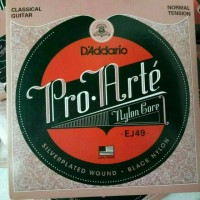 D'addario senar gitar classic black nylon akustik ej49 normal tension
